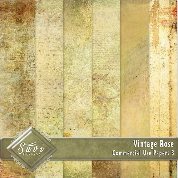 CU Commercial Use Background Papers set of 6 for Digital Scrapbooking or Craft projects Vintage Rose Set B, Designer Stock Papers
