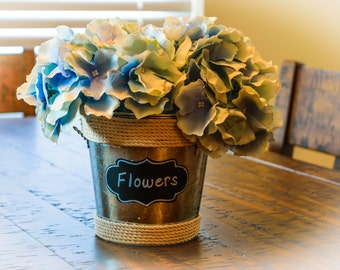 Galvanized Metal Bucket with Silk Hydrangeas - Blue