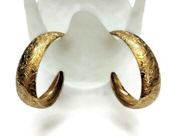 Avon Embossed Hoop Earrings, Gold tone Studs