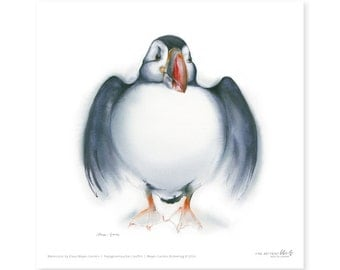 Puffin fine art print, watercolor, 8,3 x 8,3 inch, limited edition, painted by Klaus Meyer-Gasters