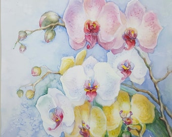 Pink Orchideas original art  watercolor flowers ready gift art decor  matted artwork  free shipping