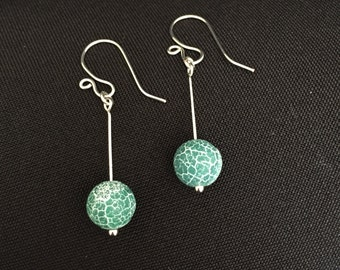 Teal Agate Drop Earrings