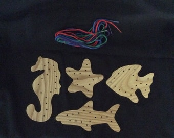 Lacing cards, lacing shapes, ocean toys, educational toys, toddler toys, preschool toys