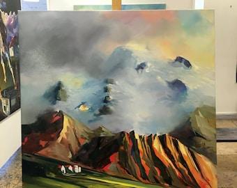 Skaftafell, Iceland. Original landscape painting by Tolli