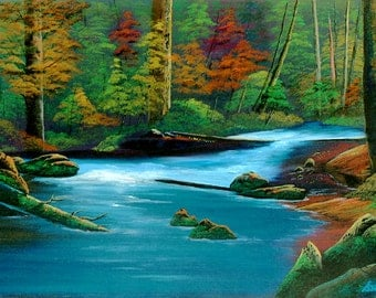 It is a vivid miniature acrylic landscape painting something different.