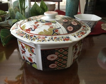 SOLD AS IS - Imari Porcelain Bowl with Lid - small chip on bowl see pictures