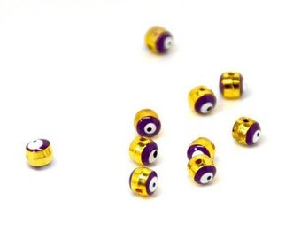 10 beads 5mm purple brass email gross - Evil Eye evil eye beads look 5 mm - Protection - Perle purple