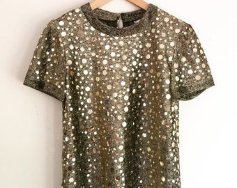 rad shiny, shimmery, sequined gold vintage tee