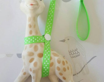 Sophie The Giraffe Harness Leash Saver Lime Green with White Spots & White Poppers.