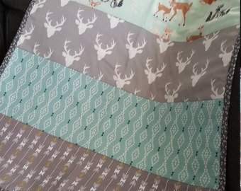 Mint Green Woodland Creatures Baby Quilt