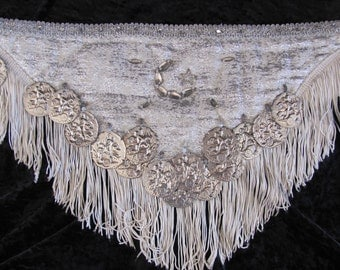 BELLY DANCE BELT, Silver Brocade Belly Dance Belt with Fringe, Silver and White Coined Belly Dance Costume, Gypsy Dance Belt with Coins