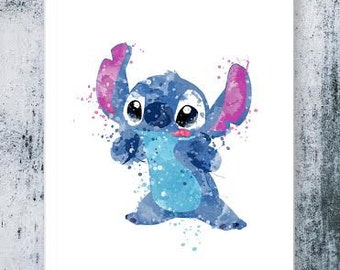 Stitch, Lilo & Stitch disney - watercolor, Art Print, instant download, Watercolor Print, poster