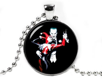 Harley Quinn and Joker Pendant Necklace with a ball chain Fandom Jewelry Cosplay Fangirl Fanboy