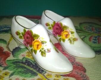 Reduced** Pair of Ashleydale Fine Bone China Miniature Ladies Shoes Circa 1950's