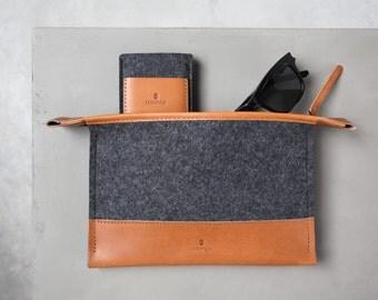 Mini Folio Case - italien en cuir et feutre de laine mérinos, gris / beige