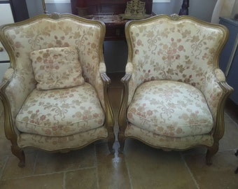 Pair of Antique French Armchairs, Floral Fabric Pattern.