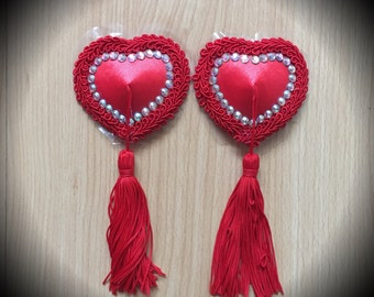Burlesque Pasties, Queen of Hearts Nipple Tassels
