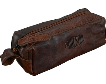 Case Pencase Schlamper roller pens, retro style Leather Brown