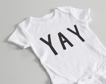 YAY Baby Grow - graphic baby grow, fun baby grow, baby clothes,