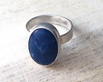 Blue Lightning Lapis Ring, size 7.5 (sterling silver)