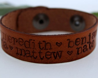 Personalized Handstamped Leather Cuff