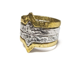 Outlaw - Sterling silver & brass stacking ring set