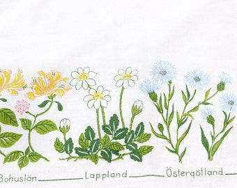 Cute vintage retro Tablecloth with lovely landscape flowers. Made in Sweden Scandinavian.
