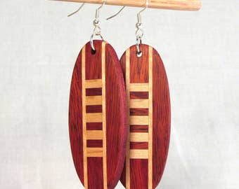Large Bloodwood and Maple Earrings