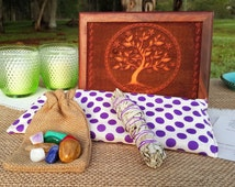 Handmade Meditation or Yoga Gift Box, Eye Pillow, Chakra Crystals, Sage Smudge Stick