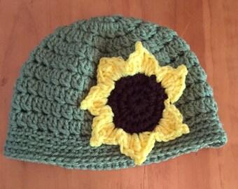 Sunflower beanie, sunflower hat, sunflower slouchy hat, child's sunflower hat