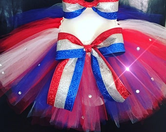 4th of July TuTu and Matching Bow