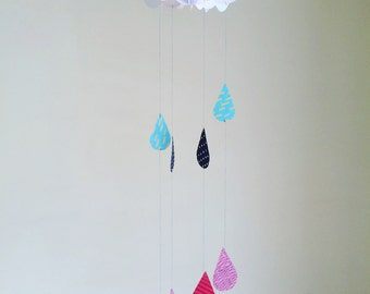 Custom made rain clouds and rain drops, baby mobile, hanging decoration, rain drops, nursery decor, paper cloud mobile