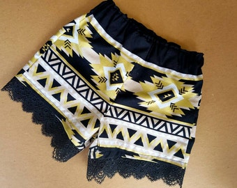 Girls Lace Trim Shorts-Aztec Black and Gold- 6m to 4T