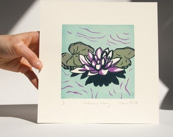 Unfolding Beauty - linocut print, traditional hand pulled, printmaking