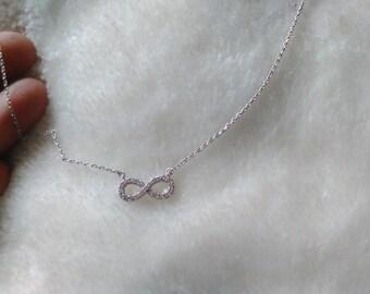 Silver diamante infinity chain