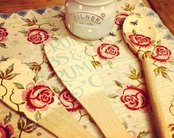 Set of 3 Decoupaged Emma Bridgewater Wooden Spoons