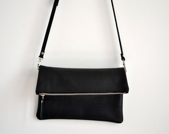 Black LEATHER CLUTCH IPad Case - Italian Leather Clutch - Long Strap & Lining - ATHENS Bag -
