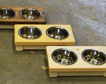 wooden double bowl cat table