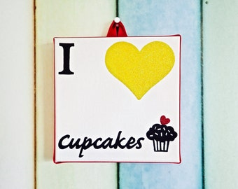 I Love Cupcakes canvas