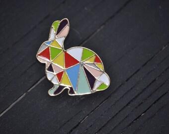 Geo- Bunny Lapel Pin/Brooche, Rabbit Pin, Bunny Pin