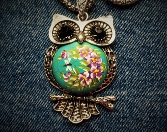 Hand Painted Turquoise and Silver Owl Pendant Necklace - Violets
