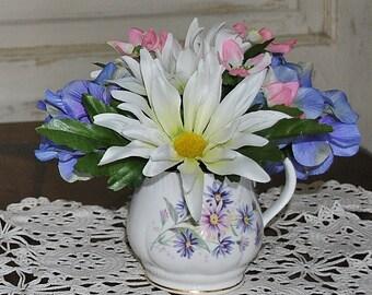 mug arrangement, teacup arrangement, blue and white arrangement, coworker gift, anytime gift, anytime arrangement, small arrangement