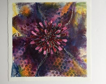 Abstract Purple Flower Painting