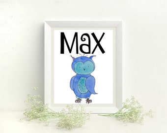 Max name sign, Max Name print, Max artwork, Max Name art, Max monogram, Max print room, Max print nursery, Max watercolor art, Max