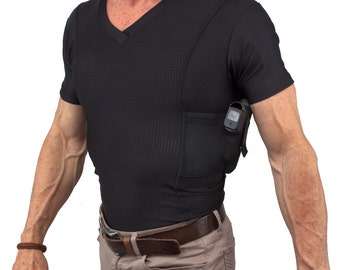 Men's Tactical Holster Shirt - Conceal Carry V-Neck Sporting Goods Apparel