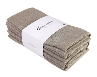 Set of natural grey napkins handcrafted from eco-friendly pure linen fabric.