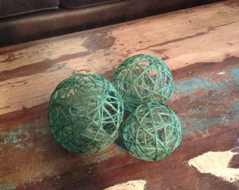 Decorative Green Twine Orbs (Set of 3)