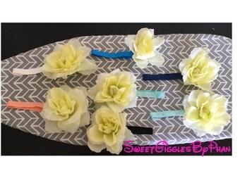 Big white roses elastic headband for baby /toddler / kids
