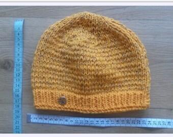 Yellow 100%  Merino Wool Beanie Hat with Reflection
