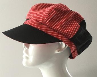 Gavroche CAP, hat was, superior fabrics, red, black color, white color, fashion millinery
